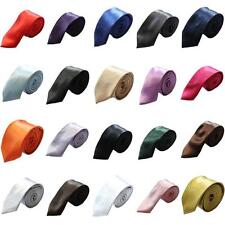 New Mens Slim Skinny Solid Color Plain Satin Tie Necktie Wedding Ties