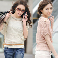 Korean Womens Casual Hollow Solid Knitting Beam Port Sleeve Tops Outerwear 6536