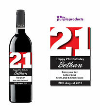 PERSONALISED 21st BIRTHDAY WINE, CHAMPAGNE or BEER/CIDER BOTTLE LABEL
