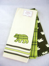 CHOICE: Bear or Moose  Green or Brown  Kitchen Towel Sets Cabin Décor FREE SHIP