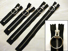 Zip, Zipper, Mediumweight, Closed End,Ring Puller, Metal YKK, Black 4,6,9,11 ins