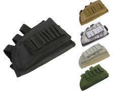 Airsoft Rifle Stock Ammo Pouch w/ Cheek Leather Pad 4 Colors Black/Tan/OD/ACU