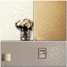 10M Modern Leaves Pattern Pearly Surface Wallpaper Rolls,5 colors,Bedroom.TV