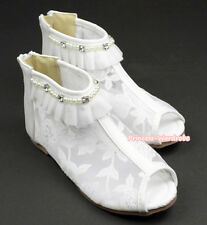 White Floral Lace Ruffle Pearl Peep Toe Flat Wedding Party Girl Sandals E66-571