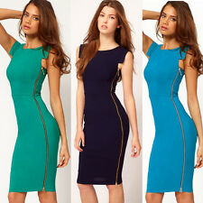 Women Zipper Wear to Work Fitted Bodycon Stretch Casual Wiggle Pencil Dress E563