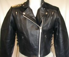 New Womens Premium Black Leather Vented Motorcycle biker Shorty Jacket Reg $199