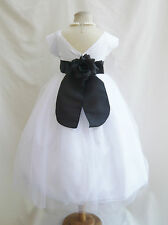 White with color sash tulle wedding party flower girl dresses size 2 4 6 8 10 12