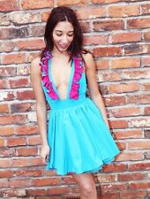NEW BOUTIQUE BRIGHT BLUE PINK PLUNGE RUFFLE SKATER TUTU MINI DRESS