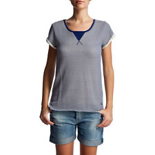 Quiksilver Little Times Stripes Womens Top Blue Tshirts Bright Indigo All Sizes