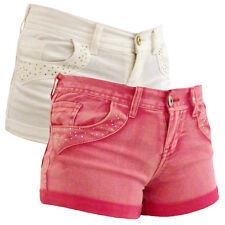 Womens Sexy Denim Hot Pants Diamante Shorts Pant Ladies Bling Short Size 8-14