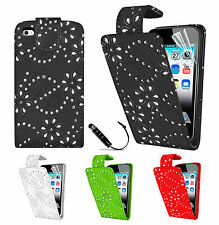 Diamond Leather Flip Case Cover For APPLE iPOD TOUCH 4 4TH Gen 4G Screen Protect
