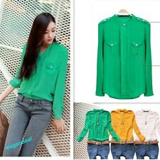 Hot Beautiful Casual Lady's Candy Color Cape Sleeve chiffon Blouse Shirt S,M,L