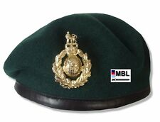 RM-ROYAL MARINES COMMANDO GREEN BERET & GILT CAP BADGE ( SBS)
