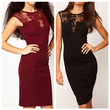 Women Sexy Lace Slim Bodycon See-through Mini Dress Party Cocktail Evening Dress