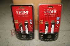 GE Ultra Pro High Speed HDMI w/ Ethernet Ultra Thin Full HD 1080p 3D 4K 8Ft 4Ft