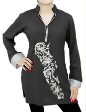 Ladies Indian Kurta Tops-Long Sleeve Embroidered Grey Kurti Top