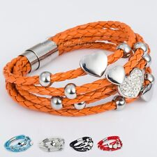 Strand Heart Bead Rhinestone Wristband Leather w Stainless Steel Magnetic Clasp