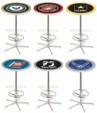 "Choose Your Military Branch 42"" Tall x 28"" Round L216 Chrome Base Pub Bar Table"