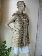 free shipping Real raccoon skins made the cker and long style vest/natural brown