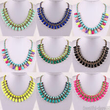 Hot Selling New Design Women Bib Turquoise Crystal Acrylic Statement Necklace