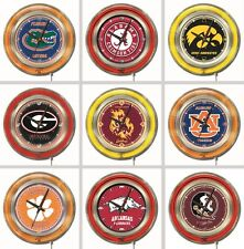 "Choose Your NCAA College A - J Team 15"" Round Chrome Double Neon Ring Wall Clock"