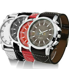 New Fashion Leather Large Size Men Quartz Hands Wrist Watch Great Gift