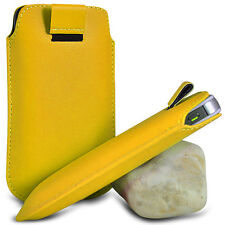 YELLOW PULL TAB LEATHER POUCH SKIN COVER CASE PU HOLSTER FOR VARIOUS PHONE