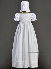 Girls White Christening Baptism Long Gown Dress Smocked Cotton 0-18M Marie