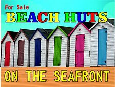 4126 FOR SALE BEACH HUTS ON THE SEAFRONT FUNNY METAL WALL SIGN