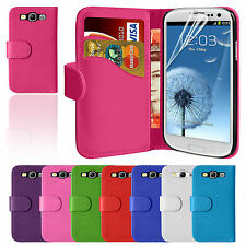 Leather Wallet Pouch Flip Case Cover For SAMSUNG GALAXY S3 i9300 Screen Protect