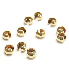 14K GOLD FILLED Round CRIMP BEAD Knot COVERS 3MM / 4MM