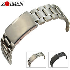 22mm or 24mm NEW PURE SOLID HEAVY STAINLESS STEEL CURVED END Watch Band Bracelet