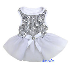 Xmas Wedding Silver White Bling Crystal Bow Tutu Dog Clothes Party Dress XS-L