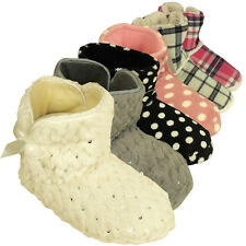 Womens Quality Furry Bootee Ankle Boot Slipper Ladies Eskimo Slippers Sizes 3-8