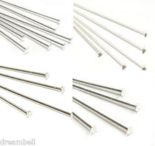 "Sterling Silver Flat Headpins Pin 26 24 22 18 Gauge  1"" 1.5"" 2"" 2.5"" .. Findings"