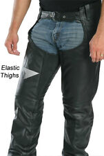 MENS BLACK PREMIUM LEATHER MOTORCYCLE COMFORT FIT CHAPS RETAIL $239