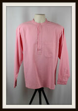 PINK ~ COLLARLESS LONG SLEEVE GRANDAD SHIRT ~ 100% COTTON ~ S, M, L, XL, XXL