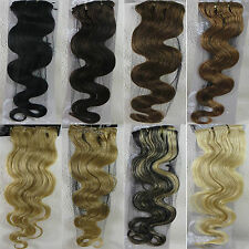 """AAA+ 22"""" Remy Human Hair 15Clips In Extensions 75g Body Wavy More Colors"""