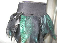 NEW Girls Witchy Black,Green,Lace,Webs,Petals,Goth,Fairy party Tutu Skirt