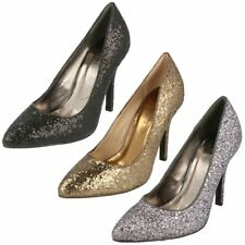 L2278 - Ladies Glittery Court Shoes Pointed Toe - Black Pewter Bronze