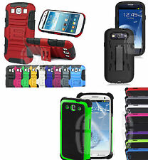 Impact Armor Stand Heavy Duty Back Cover Case for Samsung Galaxy S3 S III i9300