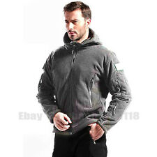 Men's Tactical Hooded Fleece Jackets Camping Casual Outdoor Jackets Warm Coats