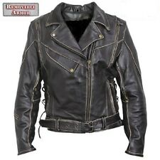 New Mens Antique Rub off  Brown Vented Leather Motorcycle biker Jacket $249