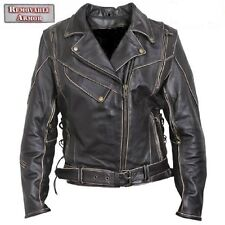 New Mens Antique Rub off  Brown Vented Leather Motorcycle biker Jacket $229