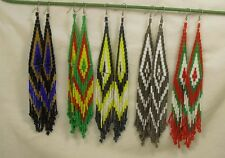 "huge size south west ethnic style seed bead earring/7-8"",mix color(J104ae-w0.5)"