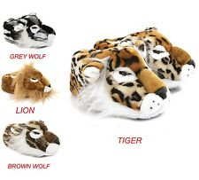 Mens & Boys BIG Animal Novelty Funny Slippers Size 7 to 14 UK TIGER LION WOLF