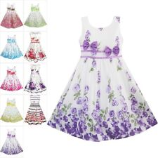 Girls Dress Flower Purple Rose Double Bow Tie Party Size 4-12 Sunny Fashion