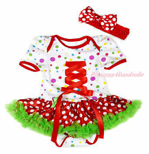 White Rainbow Dot Red Lolita Ribbon Bodysuit Red White Dot Baby Dress NB-18Month