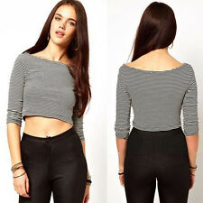 Womens Scoop Neck Half Sleeve Casual Blouse Tops Crop Top Cotton T-Shirt Striped