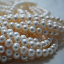 "15"" Strand Natural Freshwater Pearl Beads Round / Potato White 5 - 9mm"